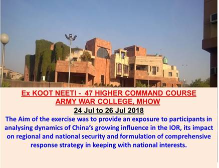 Ex KOOT NEETI – 47 HIGHER COMMAND COURSE ARMY WAR COLLEGE, MHOW – USI
